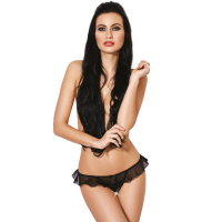 LE FRIVOLE - 04329 CROTCHLESS THONG WITH RUFFLES XS/S