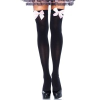 LEG AVENUE BLACK NYLON THIGH HIGHS WITH PINK BOW ONE SIZ
