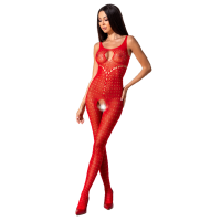 PASSION WOMAN BS078 BODYSTOCKING - RED ONE SIZE
